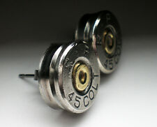 45 Colt Remington Nickel Bullet Head Earrings Steampunk Fashion Trendy