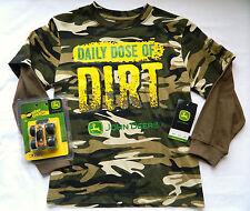 "NWT Boy's L (7) John Deere ""Daily Dose of DIRT"" Camo Print Shirt  & Toy"