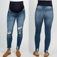 Pregnant Womans Ripped Jeans Maternity Pants Trousers Nursing Prop Belly Legging