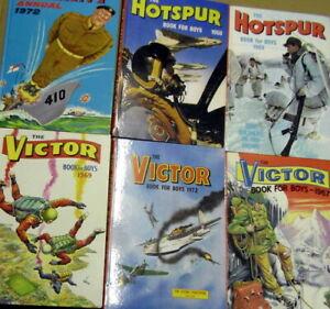 Job Lot x10 Vintage Annuals - Hotspur / Victor / Battle / Valiant (VGD to EX)