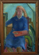 Ulla Selander *1924, Selbstportrait ? an der Staffelei, verso datiert 1949