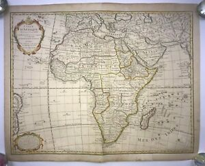 AFRICA 1722 GUILLAUME DELISLE / BUACHE LARGE ANTIQUE ENGRAVED MAP 18TH CENTURY