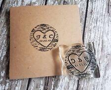 Sello de corazón Boda Woodland, Personalizados A Medida las iniciales Y Fecha