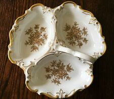 Vintage Jlmenau Graf Von Henneberg White Porcelain With Gold Gilt Divided Dish