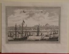 GUANGZHOU CHINA 1748 JACQUES NICOLAS BELLIN ANTIQUE COPPER  ENGRAVED CITY VIEW