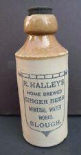 Vtg Antique R. Halley Ginger Beer Slough London Ceramic Stoneware Bottle W/ top