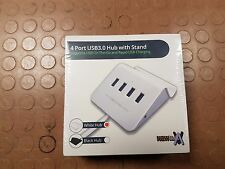 USB 3.0 4 PORT Powered HUB + built-in OTG for Mobile Phone Tablet 2.4 Amp white