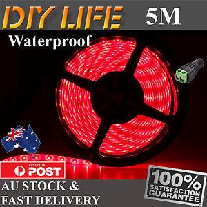 5M Waterproof 12V Red 3528 SMD 300 LED Strips Led Strip Lights car boat