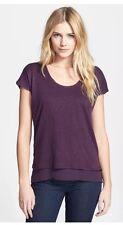 VINCE Purple Grape Double Layer Short Sleeve Knit Linen Silk Tee Shirt Top S