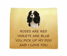Cavalier (Tri) LOVE YOU Microfibre Glasses Lens Cleaning Cloth Gift FROM THE DOG