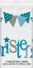 Plastic Blue Bunting Christening Tablecloth, 7ft x 4.5ft