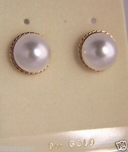9ct Gold Andralok 12mm LARGE Round Pearl Button Studs Earrings Mum's B'day GIFT