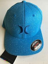 New Hurley One and Textures Hat Flexfit S M Cap Skate Small Medium Blue