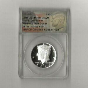 2019 s .999 silver Kennedy half dollar ANAC PR 70 DCAM
