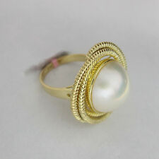 14K Yellow Gold Mabe Pearl Swirl Ring size 7  14.5mm pearl