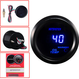 "HOTSYSTEM UNIVERSAL BLACK 2"" 52MM DIGITAL LED OIL TEMP TEMPERATURE GAUGE METER"