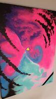 "Abstract acrylic original painting on canvas 18""x24"" Mercado Black Pink Neon"