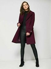 New Dorothy Perkins Womens Ladies Berry Belted Wrap Winter Coat Size 10