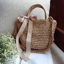 Women Handmade Straw Woven Handbag Beach Tote Crossbody Shopping Bag with Ribbon