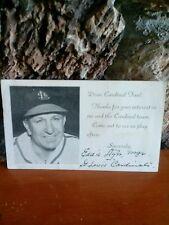 1950 Eddie Dyer signed autograph 5 1/2 x 3 1/2 Postcard Baseball Player