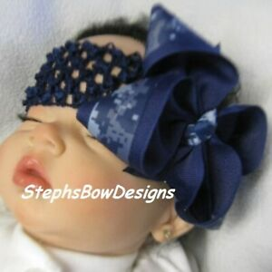 US Navy Digital Boutique Hair Bow Headband Preemie Newborn Toddler Match Sailor