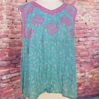 Ivy Jane Casual bohemian Green Top with Pink Embroidery sleeveless Size Large