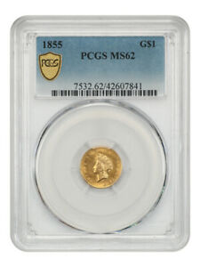 1855 G$1 PCGS MS62 (Type 2) Popular & Scarce Type 2 Gold Dollar - 1 Gold Coin