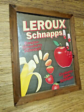 Vintage LEROUX Fruit Schnapps Bar Alcohol Ad Sign Mirror Man Cave She Shed Decor