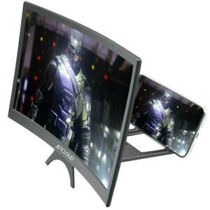 12inch Mobile Phone Curved Screen Magnifier 3D HD Video Amplifier Stand US