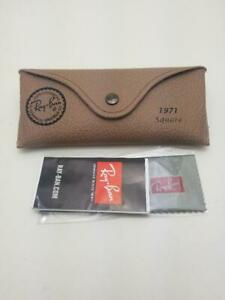 Ray Ban Leather Style Sunglasses Beige Case w/ Booklets and Cloth - 1971 Square