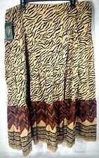 LRL Ralph Lauren Women's Long Tiered Skirt Size 2X Tan Animal Safari Print NWT