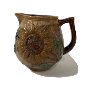 Rare Antique Majolica Pottery Sunflower Pitcher-Lovely