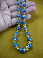 "v657-28) 22"" long Blue Lapis Lazuli gold plt cap bead beaded Necklace JEWELRY"