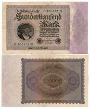 1923 Germany 100000 Mark Note German Inflation aVF /VF Green Prefix