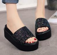 Womens Sequins Bling Beach Bohemia Peep Toe Wedge Heel Slide Slippers Sandals