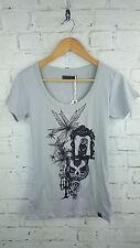 New Ladies Designer Numph Owl Print Short Sleeve T-shirt Top in Grey Sz Small