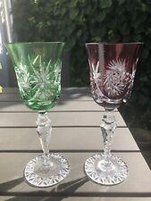 2 Bleikristallrömer, rot und grün, H ca. 21 cm, Schleuderstern, gebraucht