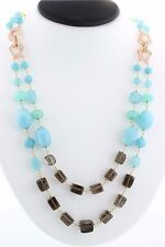 BEADED NECKLACE STRAND 22' INCH  SMOKEY QUARTZ & CHALCEDONY DOUBLE STACKABLE