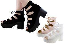 Suede Upper Peep Toes Block Heels for Women