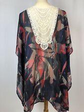Soft Surroundings Modernist Topper Kimono Boho Sheer Crochet One Size