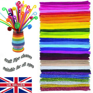 """Craft Pipe Cleaners Chenille Stems Bristle Bundles assorted Pack 30cm/12"""" kidsUK"""