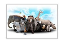 Wild Animals Collage Posters Wall Art Prints Home Deco Pictures Wildlife