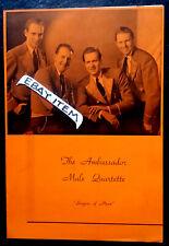 C- 1940-50s Ambassador Male Quartette vocals Swiss bell ringers Singer vocalist