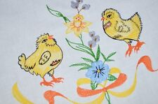 EASTER CHICKS & PANSY PANDEMONIUM! VTG GERMAN SPRING TABLECLOTH DAFFODILS