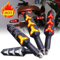 4x LED Sequential Flowing Motorcycle Turn Signal Indicator Lights DRL Brake Lamp