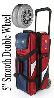 KAZE SPORTS Deluxe 3 Ball Roller Bowling Bag Double Smooth PU Wheels + SEESAW