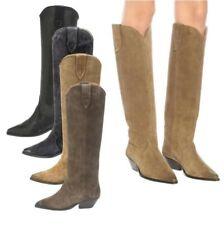 Winter Warm Women Cowgirls Pull On Block Heel Pointy Toe Knee High Boots 34/43 L