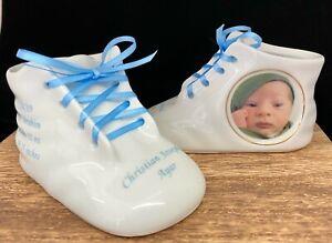 Personalized Photo Porcelain Bright White Baby Shoe Bootie Keepsake Newborn