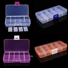 5x Plastic 10 Slots Adjustable Jewelry Storage Box Case Craft Organizer Bead