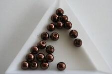 Brown Glass Pearl beads. 6mm. 80 beads. #3727